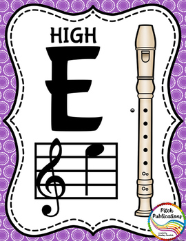 Recorder Fingering Chart Posters v2 - Music Decor Rainbow Brights