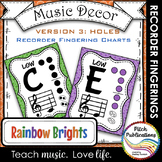 Recorder Fingering Chart Posters v3 HOLES - Music Decor Ra