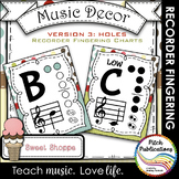 Recorder Fingering Chart Posters v3 HOLES - Music Decor SW