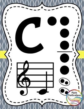 Recorder Fingering Chart Posters v3 Holes - Music Decor Aqua Gray