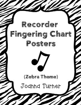Recorder Fingering Chart Posters (zebra print)