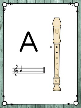 Recorder Fingering Charts: Distressed Wood