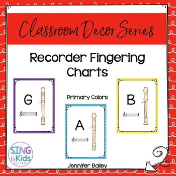 Recorder Fingering Charts: Primary Colors
