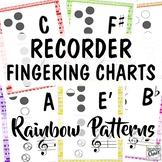 Recorder Fingering Charts: Rainbow Patterns Music Room Decor