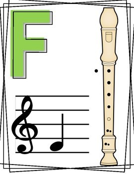 Recorder Fingering Charts, Recorder Posters