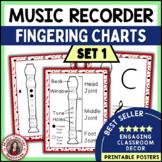 Music Classroom Decor Kit: Music Posters - Recorder Fingering Charts: Set 1