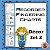 Music Posters Recorder Fingering Charts: Music Classroom Decor Set 3