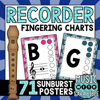 Recorder Fingering Charts {Sunburst Theme}
