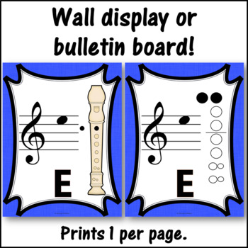 Recorder Fingering Charts for Alto  Recorder Music Room Décor (blue)