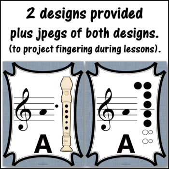 Recorder Fingering Charts for Alto Recorder (gray)