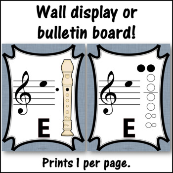 Recorder Fingering Charts for Alto  Recorder Music Room Décor (gray)