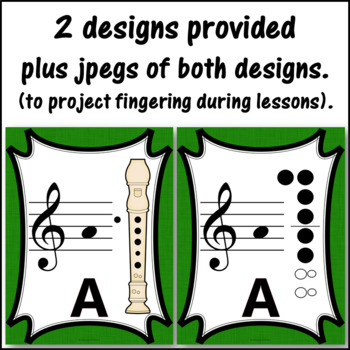 Recorder Fingering Charts for Alto  Recorder Music Room Décor (green)