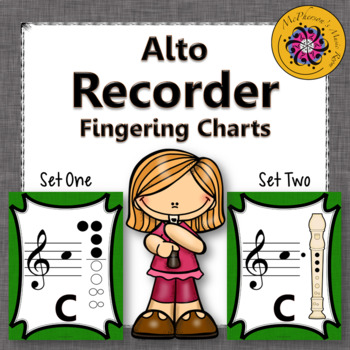 Recorder Fingering Charts for Alto Recorder (green)