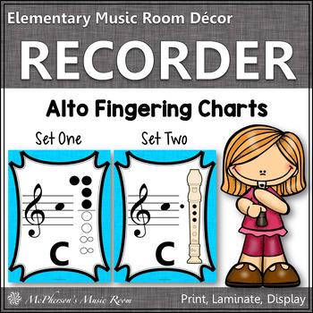Recorder Fingering Charts for Alto Recorder (light blue)