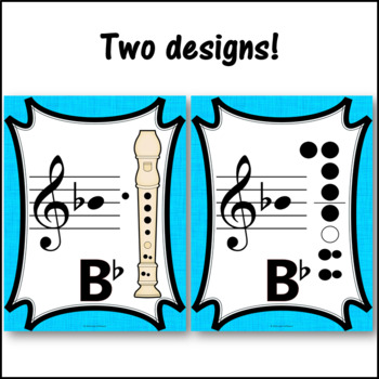 Recorder Fingering Charts for Alto  Recorder Music Room Décor (light blue)