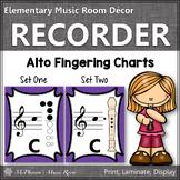 Recorder Fingering Charts for Alto  Recorder Music Room Décor (purple)