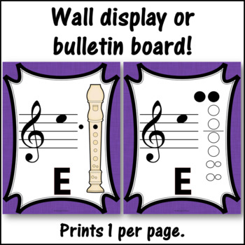 Recorder Fingering Charts for Alto  Recorder Music Room Décor (purple)