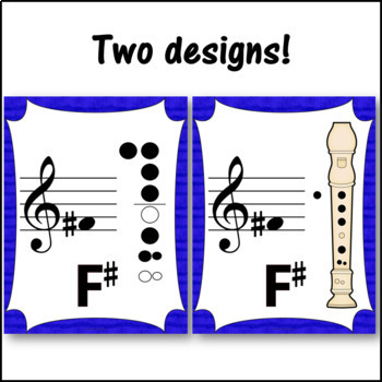 Recorder Fingering Charts for Soprano Recorder (blue)
