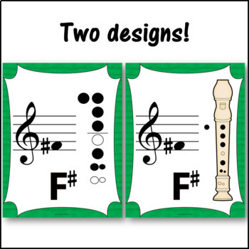 Recorder Fingering Charts for Soprano Recorder Music Room Décor (green)