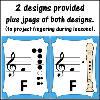 Recorder Fingering Charts for Soprano Recorder Music Room Décor (light blue)
