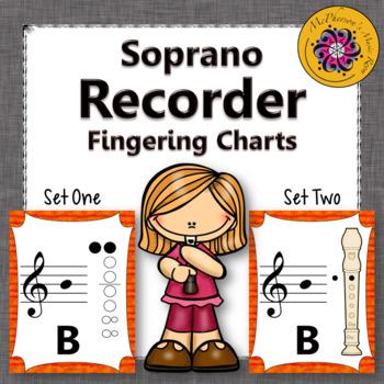 Recorder Fingering Charts for Soprano Recorder Music Room Décor (orange)