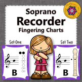 Recorder Fingering Charts for Soprano Recorder Music Room Décor (purple)