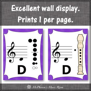 Recorder Fingering Charts for Soprano Recorder Music Room Décor (purple)