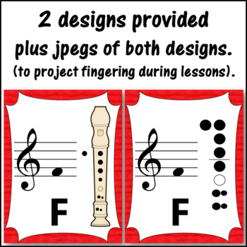 Recorder Fingering Charts for Soprano Recorder (red)
