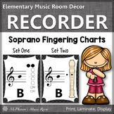 Recorder Fingering Charts for Soprano Recorder Music Room Décor (black)