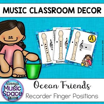 Recorder Fingering Posters {Ocean Theme}