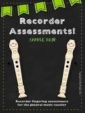 Recorder Assessments Pack: Elementary General Music (PREVIEW)