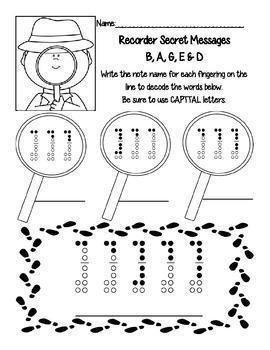 *FREEBIE* Recorder Fingerings Secret Message Worksheet (BAGE&D)