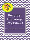 Recorder Fingerings Worksheet B-A-G