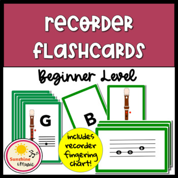 Beginner Recorder Flashcards and Fingering Chart