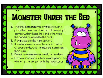 Recorder Game - Reading BAGE on the Staff - Monster Under the Bed