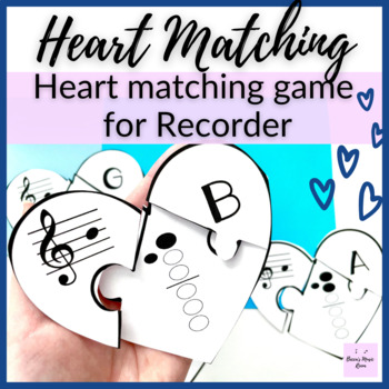 Recorder Hearts Matching Game for Music Centers