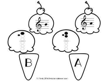 Recorder Ice Cream Matching Game for End of Year or Summer Music Centers