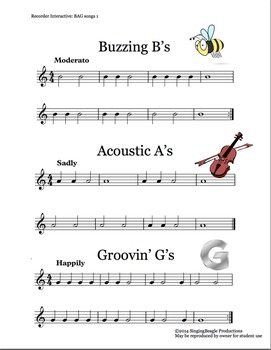 Recorder Interactive BAG Songs 1–Three Recorder Songs with