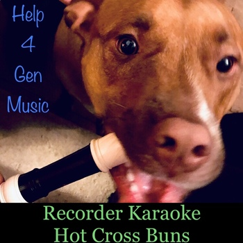 Recorder Karaoke - Hot Cross Buns (awesome rock band accompaniment)