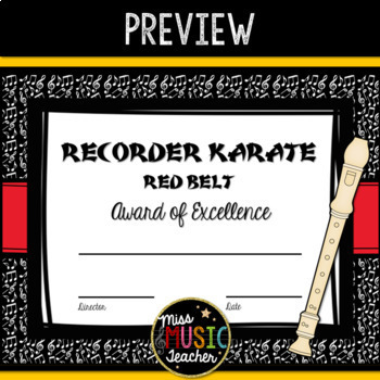 Recorder Karate Award Certificates