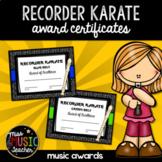 Recorder Karate Award Certificates