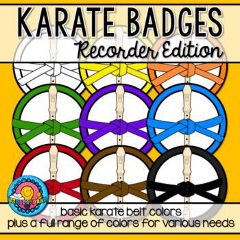 Recorder Karate Belt Achievement Badges 16 Colors