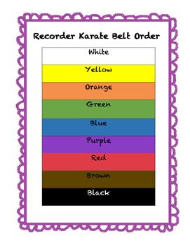 Recorder Karate Belt Chart