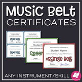 Music Karate Belt Certificates - Any Instrument - Editable - Inksaver