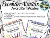 Recorder Karate / Dojo Volume 1 & 2 Certificates BUNDLE