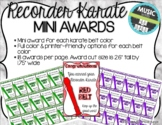 Recorder Karate / Dojo Volume 1 Mini Awards   Distance Learning