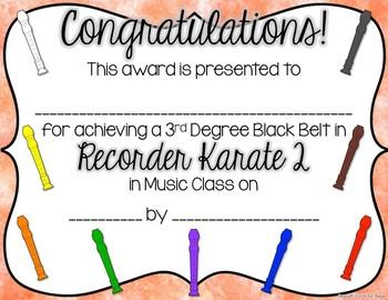Recorder Karate / Dojo Volume 2 Certificates