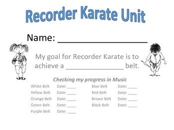 Recorder Karate Goal Sheet