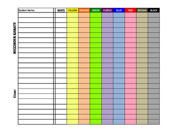 Recorder Karate Grading Sheet
