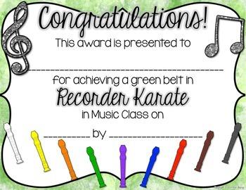 Recorder Karate / Dojo Volume 1 Certificates